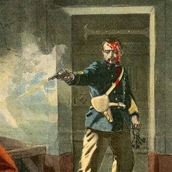 """""""Drame dans une prison militaire"""", Une du journal Le Petit Parisien du 6 mai 1900."""