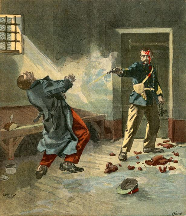 """""""Un drame dans une prison militaire"""", Le Petit Parisien, édition du jeudi 6 mai 1900."""