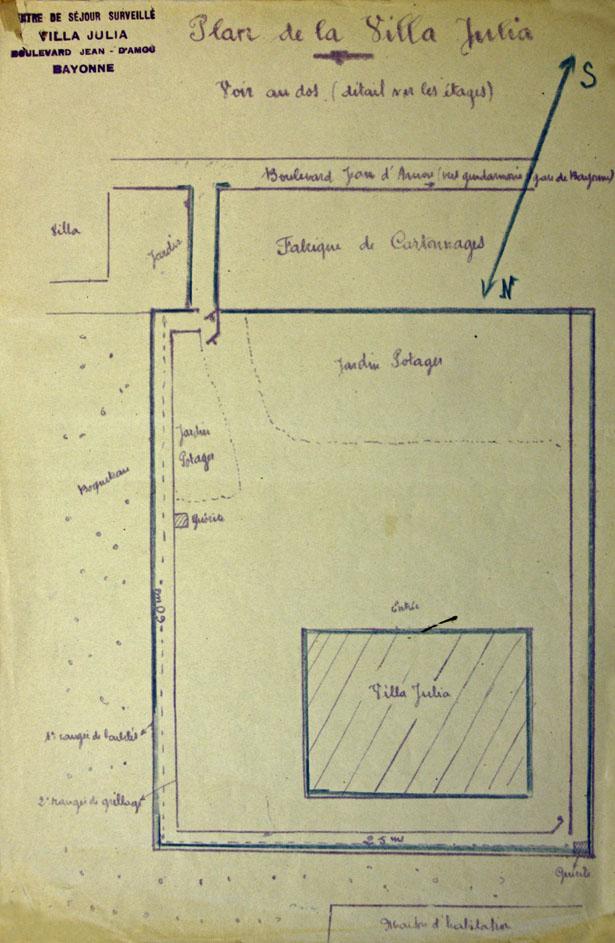 """Plan du centre de séjour surveillé de Bayonne, """"Villa Julia"""", 26 janvier 1942."""