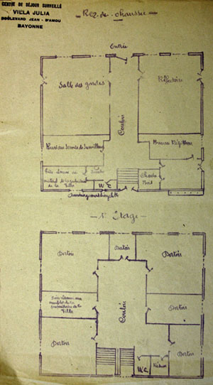 Plans intérieurs de la Villa Julia à Bayonne, centre de séjour surveillé, janvier 1942.