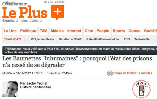 """Les Baumettes """"inhumaines"""" publié le 6 décembre 2012 sur « Le Plus du Nouvel Observateur »"""