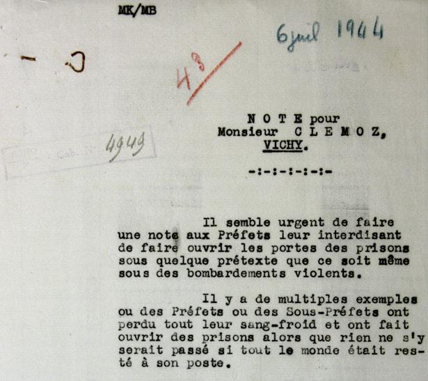 Note pour Monsieur Clemoz, secrétaire général au maintien de l'ordre à Vichy, le 6 juillet 1944.