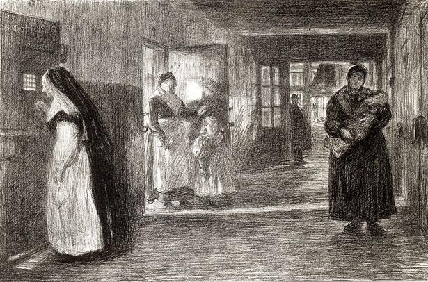 Prison Saint-Lazare, couloir desservant les cellules des détenues mères.