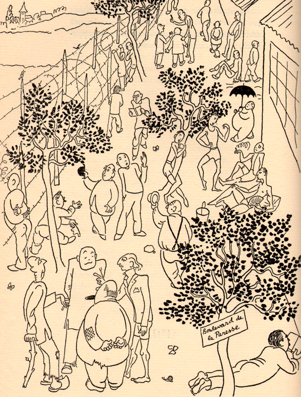 "Le camp de Damigny (Orne), dessin d'Adolf Hoffmeister, publié dans son livre ""The Animals are in Cages"", 1941, New York"