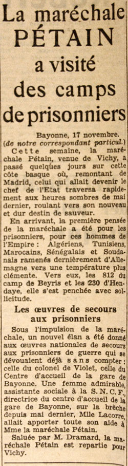 Journal Le Petit Parisien du 18 novembre 1940. Visite des camps de prisonniers coloniaux du Polo Beyris à Bayonne, et à Hendaye, par la maréchale Pétain.