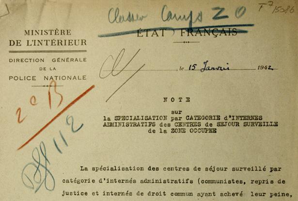 Texte de la note du 15 janvier 1942 de la DGPN