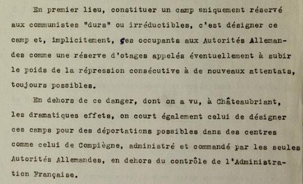 Texte de la note du 15 janvier 1942 de la Direction générale de la Police nationale.