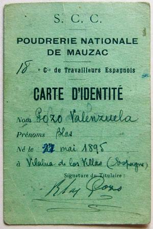 Carte d'identité de Blas Pozo, affecté à la 18e CTE, 1940.