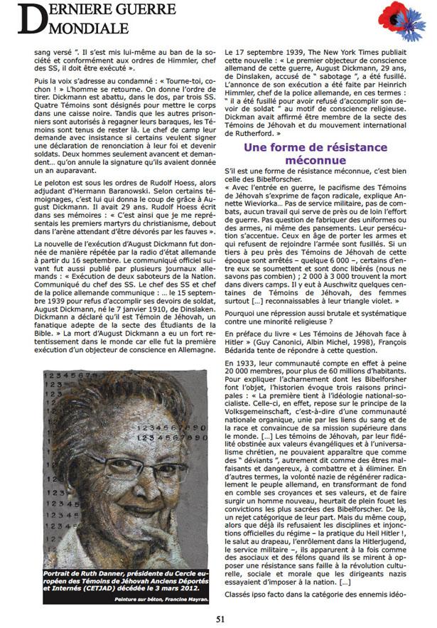 """«Dictatures : ceux qui ont dit """"Non!"""" », dossier du e-magazine bimestriel Dernière Guerre Mondiale de février 2013, page 51"""