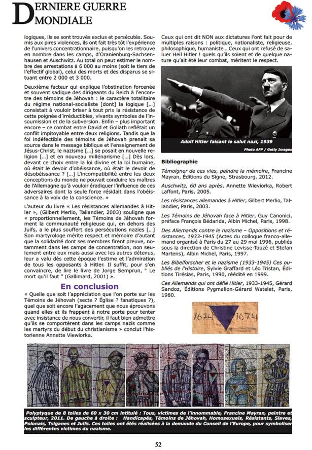 """«Ils refusaient de saluer """"Heil Hitler!"""" » """"Dernière Guerre mondiale, page 52."""
