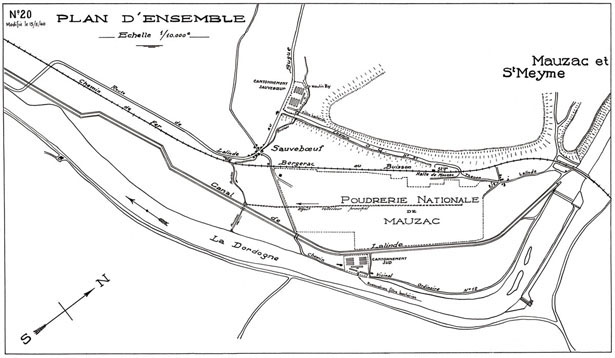 Plan d'ensemble du projet de construction de la poudrerie nationale de Mauzac, mai 1940