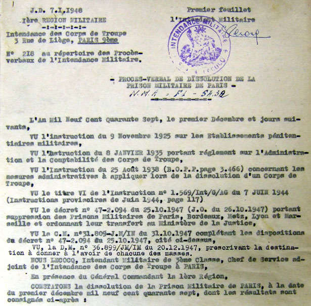 Procès-verbal de dissolution de la prison militaire de Paris, rue du Cherche-Midi, 1947.