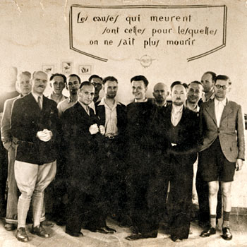 Prison militaire de Mauzac (Dordogne), 1942. Groupe de prisonniers politiques du SOE, évadés le 16 juillet 1942.