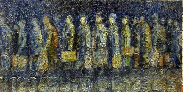 """Francine Mayran, """"Mémoire d'un départ"""", huile sur toile , 50x100 cm, 2012"""
