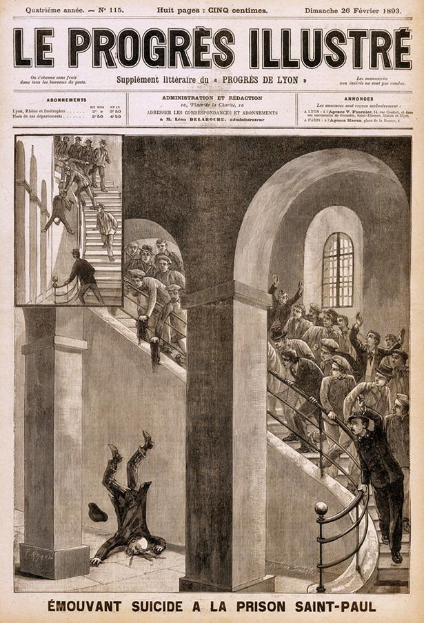 """""""Émouvant suicide à la prison Saint-Paul"""". En première de couverture du journal Le Progrès illustré, supplément littéraire du Progrès de Lyon, le 26 février 1893"""