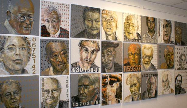 Le mur de la survivance : galerie de portraits réalisés sur fond de béton, Francine Mayran.