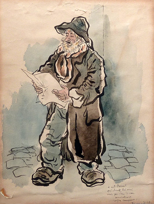 Aquarelle réalisée par Ralph Soupault en 1947 alors qu'il était interné à la prison de Fresnes pour collaboration