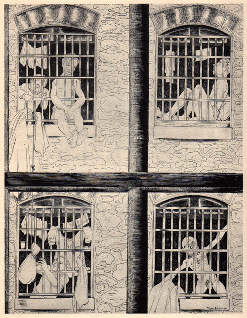 """""""De ma fenêtre"""", dessin de Ralph Soupault, alias Rio, in """"Fresnes, reportage d'un témoin"""", 1947."""