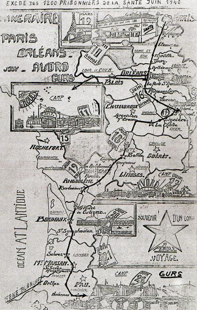 Exode des prisonniers de la prison militaire de Paris au départ de la Santé et du Cherche-Midi, jusqu'au camp de Gurs (10-21 juin 1940)