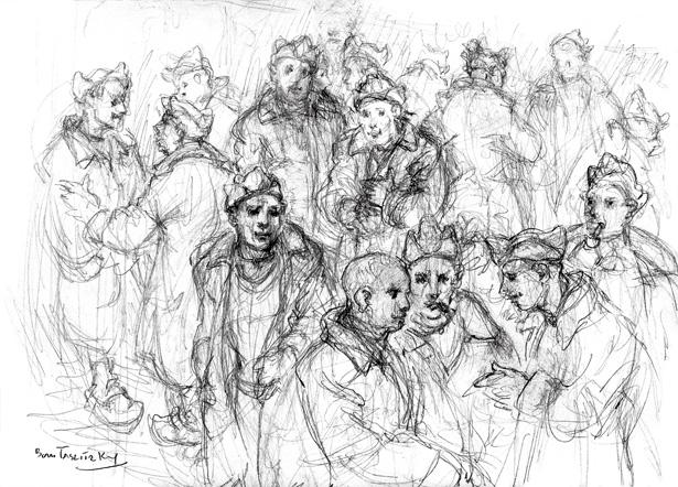 Groupe de prisonniers politiques français, dessin Boris Taslitzky, collection J. Tronel
