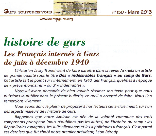 Bulletin de l'Amicale du camp de Gurs de mars 2013, introduction à l'article de Jacky Tronel sur les Français internés au camp de Gurs en 1940.