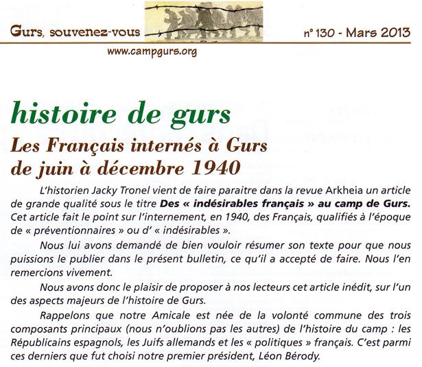 Bulletin de l'Amicale du camp de Gurs de mars 2013, introduction à l'article de Jacky Tronel sur les Français internés au camp de Gurs en 1940.