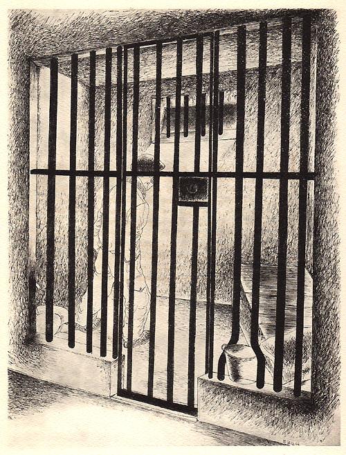 """""""La cage aux hommes"""", dessin de Ralph Soupault, alias Rio, in """"Fresnes, reportage d'un témoin"""", 1947."""
