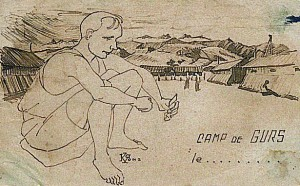 Léon Bérody au camp de Gurs, dessin réalisé au camp par René Kunz, 1940.