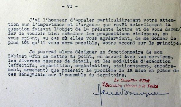 Extrait de la lettre de Bousquet à Oberg au sujet de la garde des prisons et des camps par des Sénégalais.