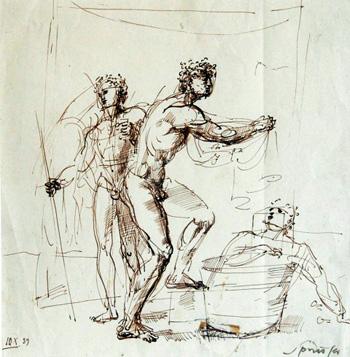 Les Milles, Bains, dessin de F. Springer.