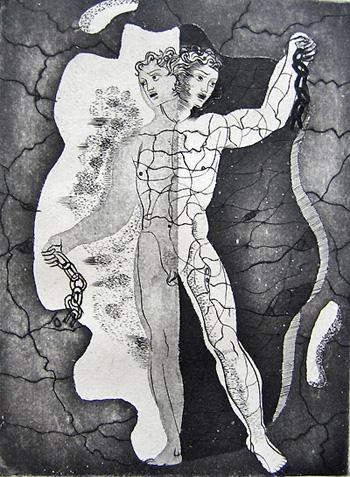 Mythe de la Caverne III, gravure à l'eau forte, 1948