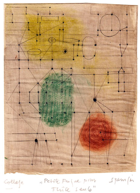 Petite fugue, 1954, collage  de Ferdinan Springer : le souvenir de Paul Klee.