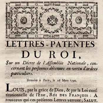 Décret du 16 mars 1790 au sujet de l'abolition des lettres de cachet et des conditions de détention dans les prisons