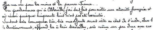 Extrait de la lettre de François Molet, fusillé au Mont Valérien, le 7 avril 1942 - Verso