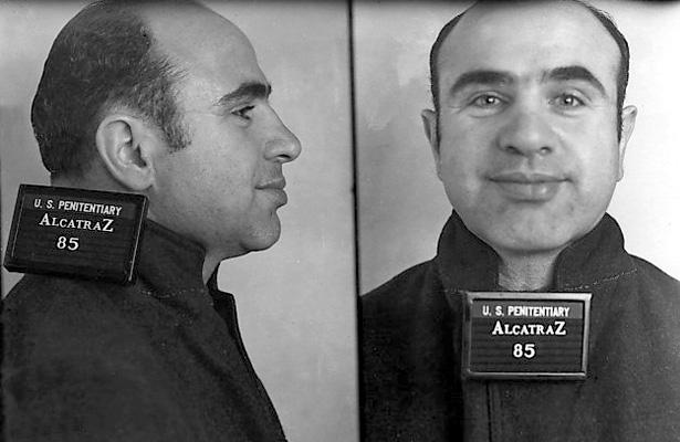 Al Capone, célèbre prisonnier détenu au pénitencier fédéral d'Alcatraz