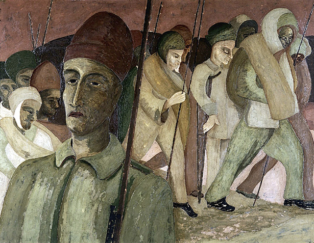 La Marche de Saint-Nicolas, peinture d'Henry Gowa, 27 juin 1940