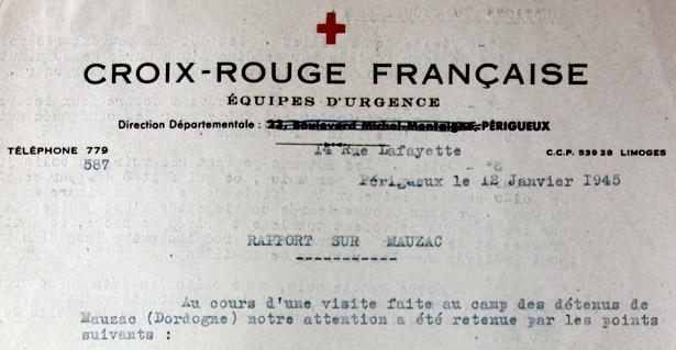 «Rapport sur Mauzac» du bureau de la Croix-Rouge française de Périgueux du 12 janvier 1945. Source : Archives départementales de la Dordogne, 6 W 3.