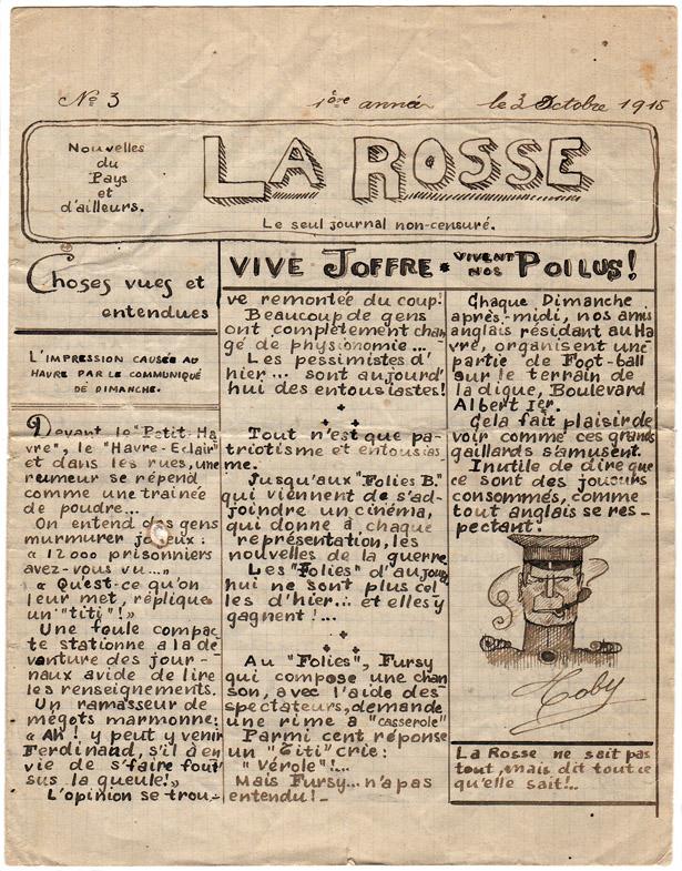 """Journal pour Polius """"La Rosse"""" n° 3, 3 octobre 1915."""