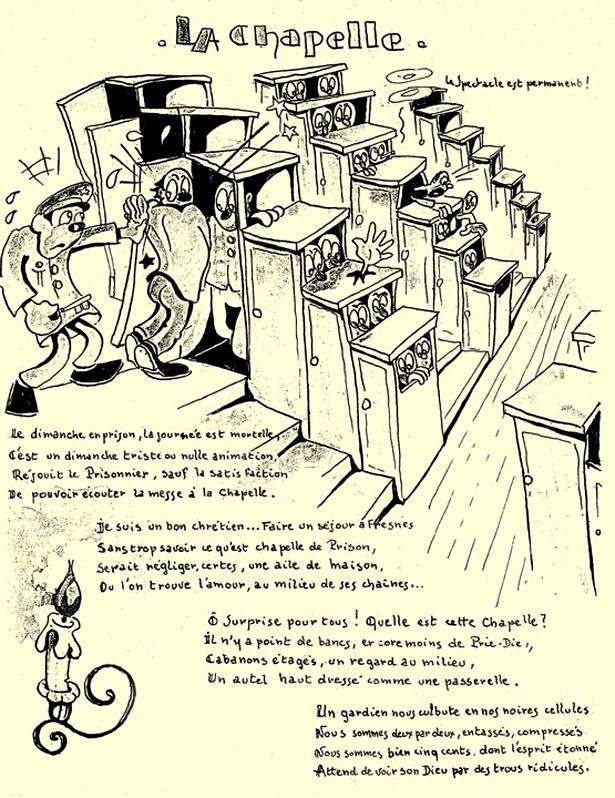 """La prison de Fresnes pendant l'Épuration : caricatures de André de Rose, alias """"Guy Hanro""""."""