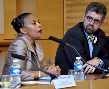 Christiane Taubira, ministre de la Justice et Christophe Jamin, directeur de l'École de Droit de Sciences Po