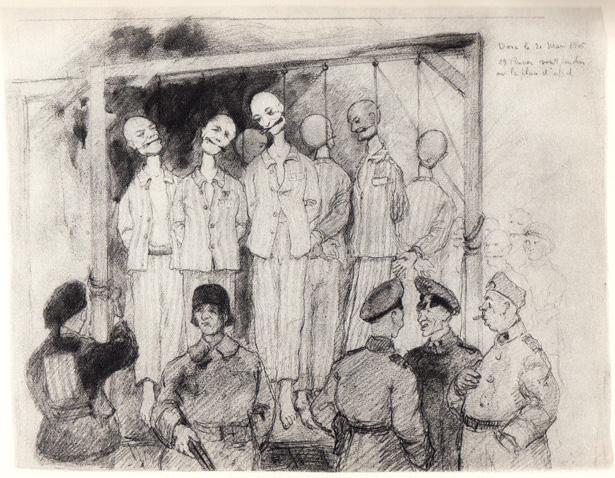 29 Russes sont pendus sur la place d'appel en présence de leur camarades, d'officiers, de sous-officiers et de soldats allemands venus en spectateurs, Dora, 21 mars 1943