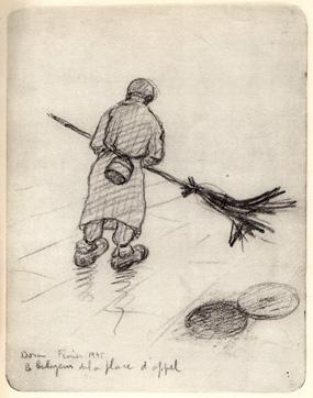 Le balayeur de la place d'appel, croquis Léon Delarbre, Dora, février 1945.