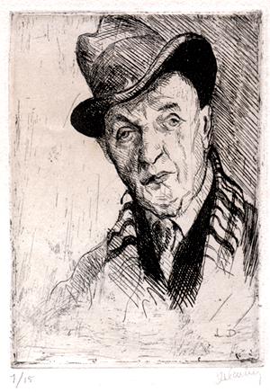 Léon Delarbre, autoportrait, eau-forte sur cuivre, coll. Jacques Saraben
