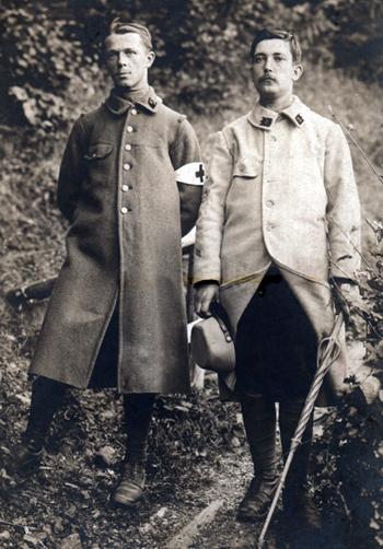Léon Delarbre et Julien Saraben, compagnons d'armes pendant la Première Guerre mondiale. Photo coll. Jacques Saraben.