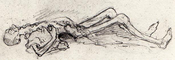 Mort de faim, Dora, mars 1945. Croquis de Léon Delarbre.
