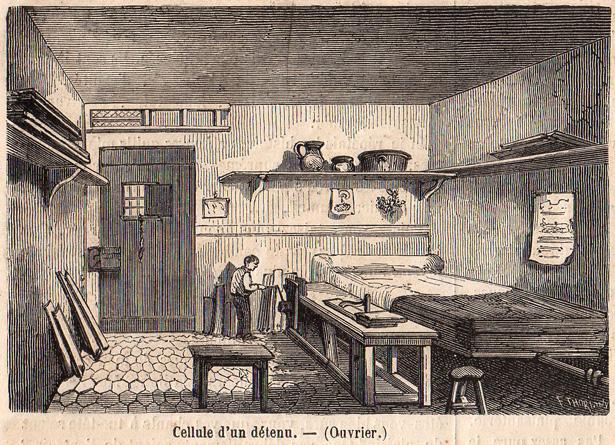 """""""Le Monde Illustré"""" du 8 juillet 1865 sur la prison pour jeunes détenus de la Petite Roquette. Cellule d'un détenu."""