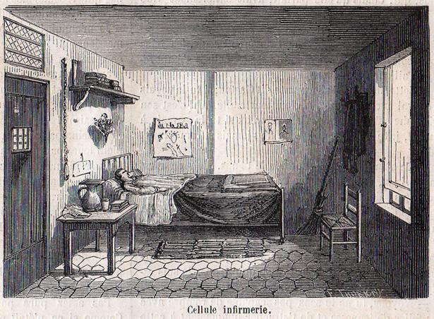 """""""Le Monde Illustré"""" du 8 juillet 1865 sur la prison pour jeunes détenus de la Petite Roquette. Cellule infirmerie."""