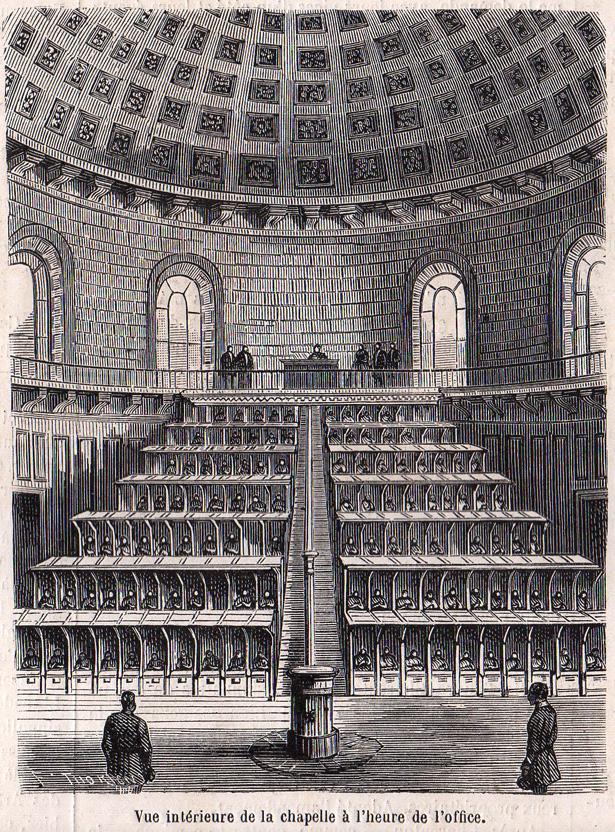 """""""Le Monde Illustré"""" du 8 juillet 1865 sur la prison pour jeunes détenus de la Petite Roquette. Chapelle cellulaire."""