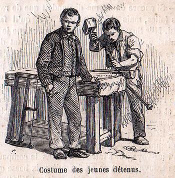 """""""Le Monde Illustré"""" du 8 juillet 1865 sur la prison pour jeunes détenus de la Petite Roquette. Costumes de jeunes détenus."""