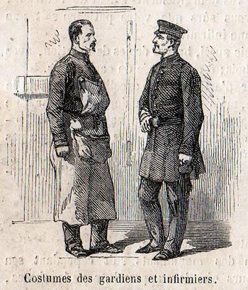 """""""Le Monde Illustré"""" du 8 juillet 1865 sur la prison pour jeunes détenus de la Petite Roquette. Costumes de gardiens et infirmiers."""